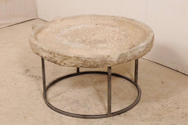 19th Century Mediterranean Stone Olive Oil Trough Table on Custom Base For Sale 5
