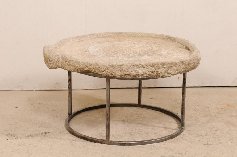 Rustic 19th Century Mediterranean Stone Olive Oil Trough Table on Custom Base For Sale