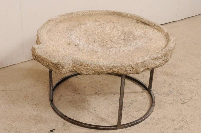 European 19th Century Mediterranean Stone Olive Oil Trough Table on Custom Base For Sale