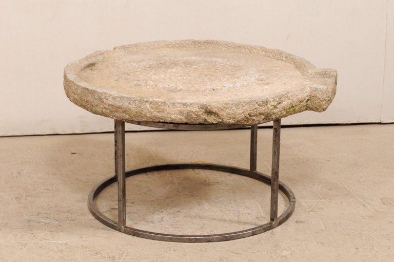 Hand-Carved 19th Century Mediterranean Stone Olive Oil Trough Table on Custom Base For Sale