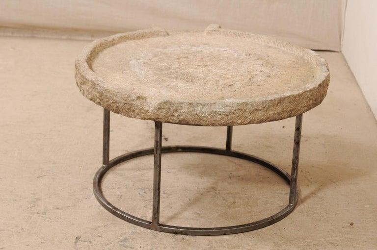 19th Century Mediterranean Stone Olive Oil Trough Table on Custom Base In Good Condition For Sale In Atlanta, GA