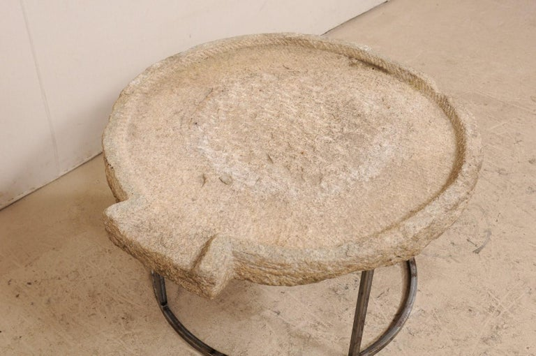 19th Century Mediterranean Stone Olive Oil Trough Table on Custom Base For Sale 3