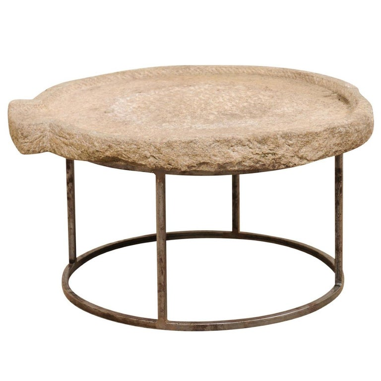 19th Century Mediterranean Stone Olive Oil Trough Table on Custom Base For Sale