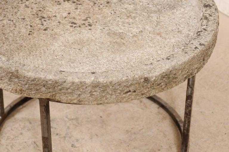 19th Century Mediterranean Stone Trough Coffee Table on Custom Base For Sale 3