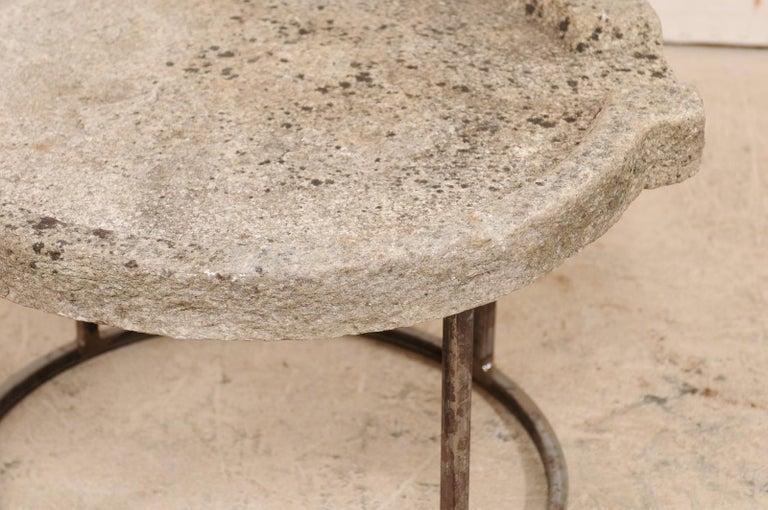 19th Century Mediterranean Stone Trough Coffee Table on Custom Base For Sale 4