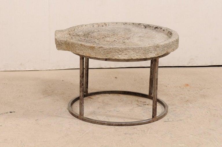 Rustic 19th Century Mediterranean Stone Trough Coffee Table on Custom Base For Sale