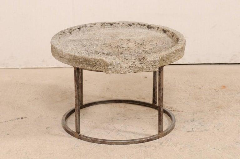 European 19th Century Mediterranean Stone Trough Coffee Table on Custom Base For Sale