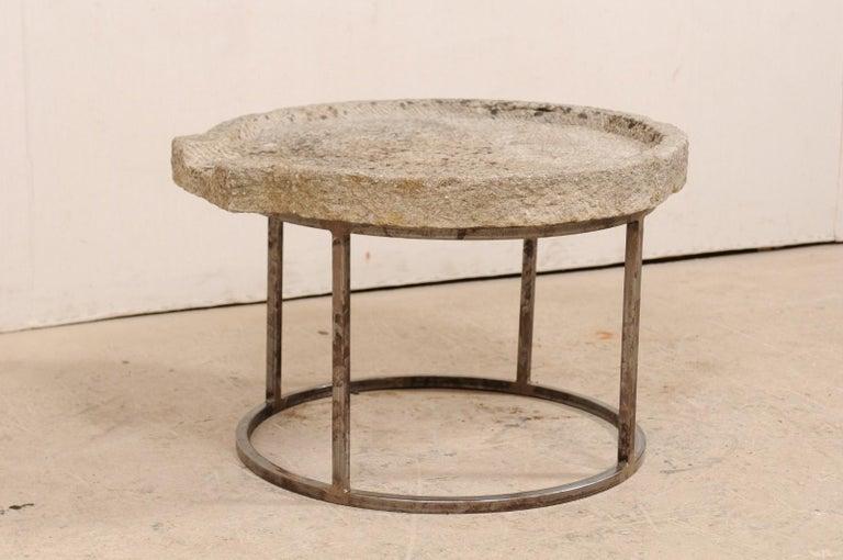 19th Century Mediterranean Stone Trough Coffee Table on Custom Base In Good Condition For Sale In Atlanta, GA