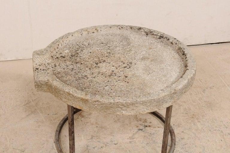 19th Century Mediterranean Stone Trough Coffee Table on Custom Base For Sale 1