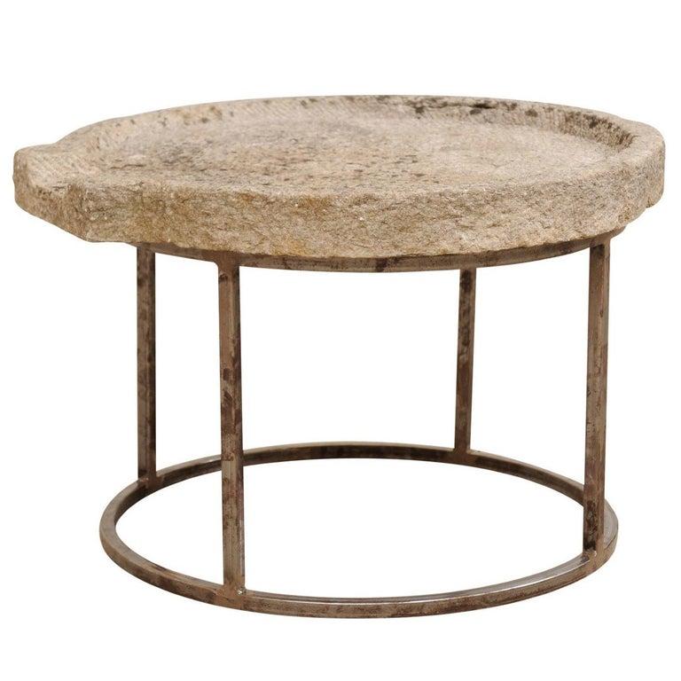 19th Century Mediterranean Stone Trough Coffee Table on Custom Base For Sale