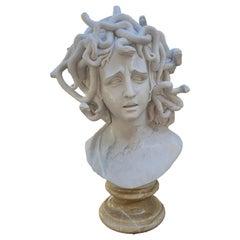 19th Century Medusa Marble Bust with Onyx Base