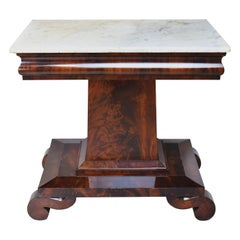 19th Century Meeks American Empire Mahogany Console Table with Carrara Marble