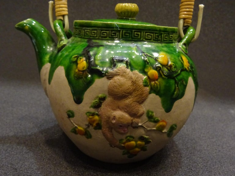 Hand-Crafted 19th Century Meiji Japanese Green Ceramic with Monkeys Teapot with Mark of Banko For Sale