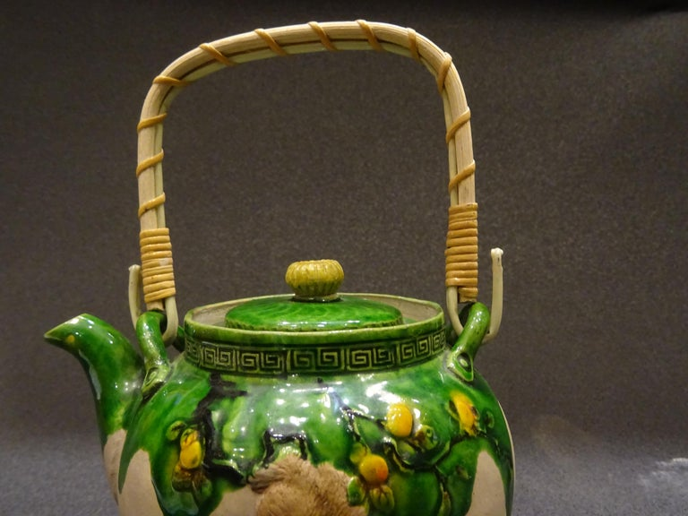 Late 19th Century 19th Century Meiji Japanese Green Ceramic with Monkeys Teapot with Mark of Banko For Sale