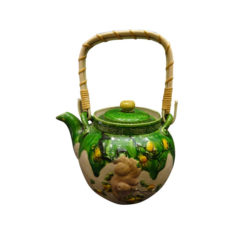 19th Century Meiji Japanese Green Ceramic with Monkeys Teapot with Mark of Banko For Sale
