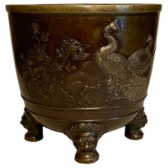 19th Century Meiji Japanese Large Bronze Jardinière