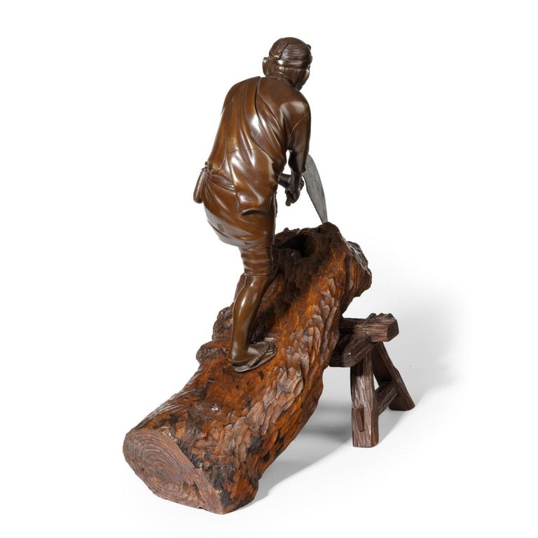 19th Century Meiji Period Bronze of a Woodcutter Sawing a Large Tree Trunk For Sale 5