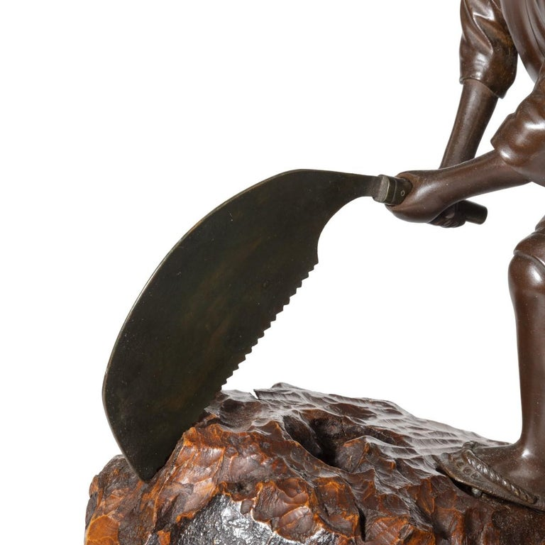 19th Century Meiji Period Bronze of a Woodcutter Sawing a Large Tree Trunk In Good Condition For Sale In Lymington, Hampshire