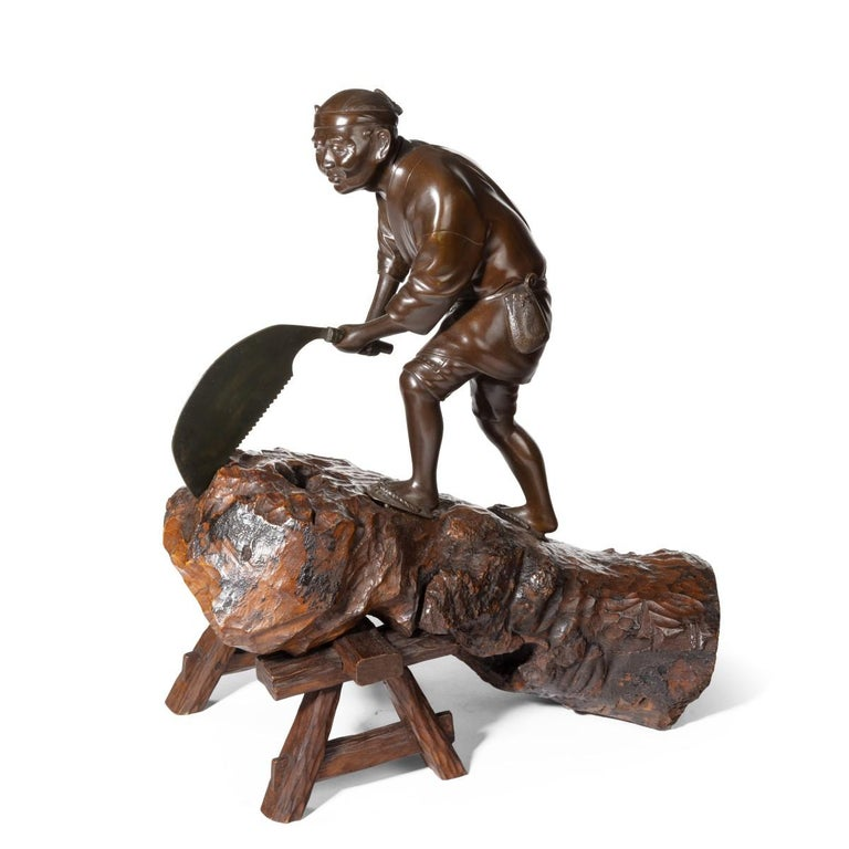 Late 19th Century 19th Century Meiji Period Bronze of a Woodcutter Sawing a Large Tree Trunk For Sale
