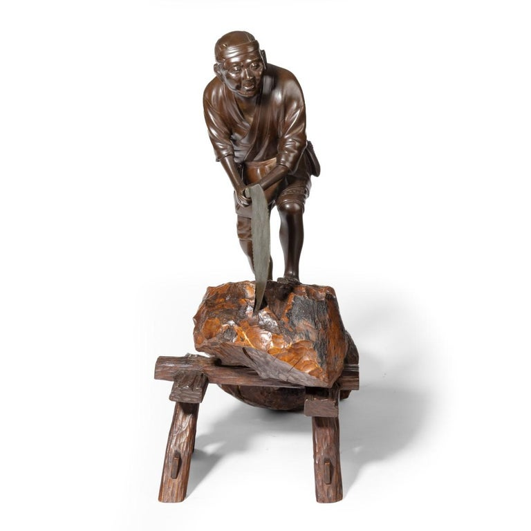19th Century Meiji Period Bronze of a Woodcutter Sawing a Large Tree Trunk For Sale 2