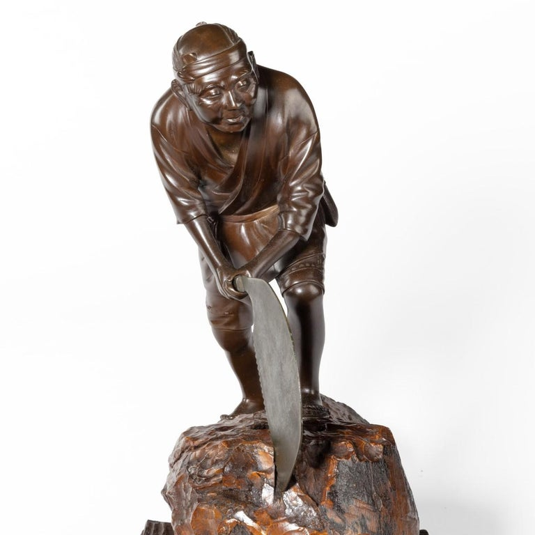 19th Century Meiji Period Bronze of a Woodcutter Sawing a Large Tree Trunk For Sale 3