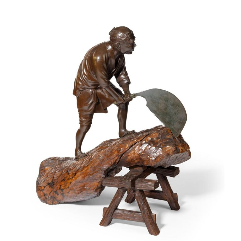 19th Century Meiji Period Bronze of a Woodcutter Sawing a Large Tree Trunk For Sale 4