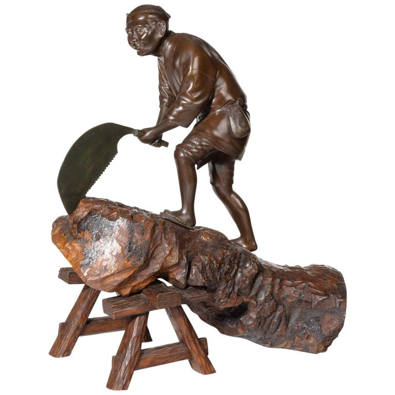 19th Century Meiji Period Bronze of a Woodcutter Sawing a Large Tree Trunk For Sale
