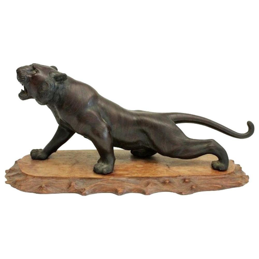 19th Century Meiji Period Bronze Tiger