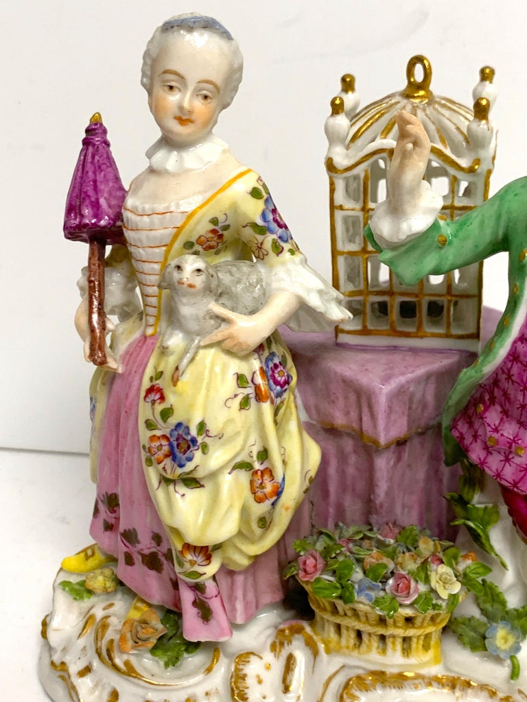 Hand-Painted 19th Century Meissen Birdcage Grouping For Sale