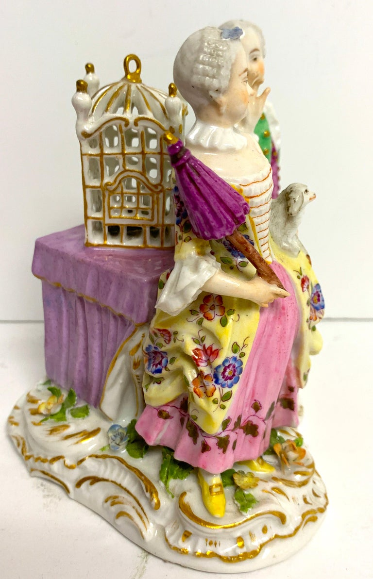 Porcelain 19th Century Meissen Birdcage Grouping For Sale