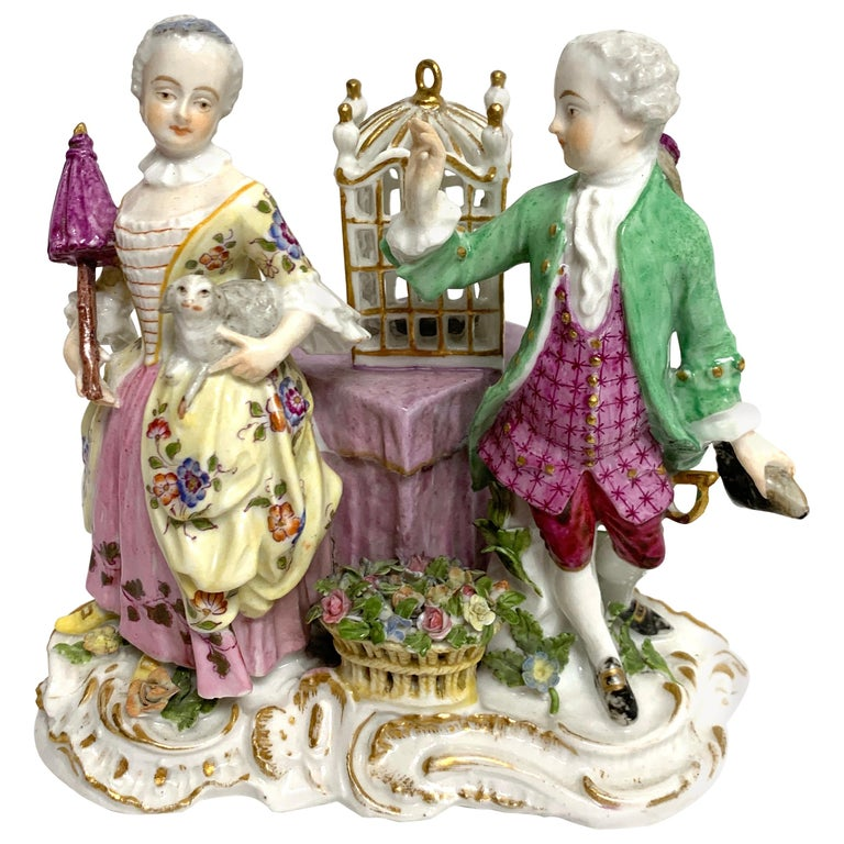 19th Century Meissen Birdcage Grouping For Sale