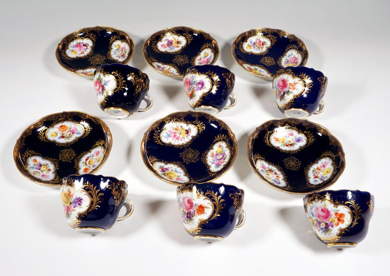 19th Century Meissen Coffee Set for 6 Persons, Cobalt, Bouquets and Gold Decor 3