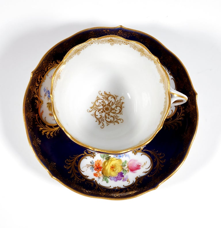 19th Century Meissen Coffee Set for 6 Persons, Cobalt, Bouquets and Gold Decor 6