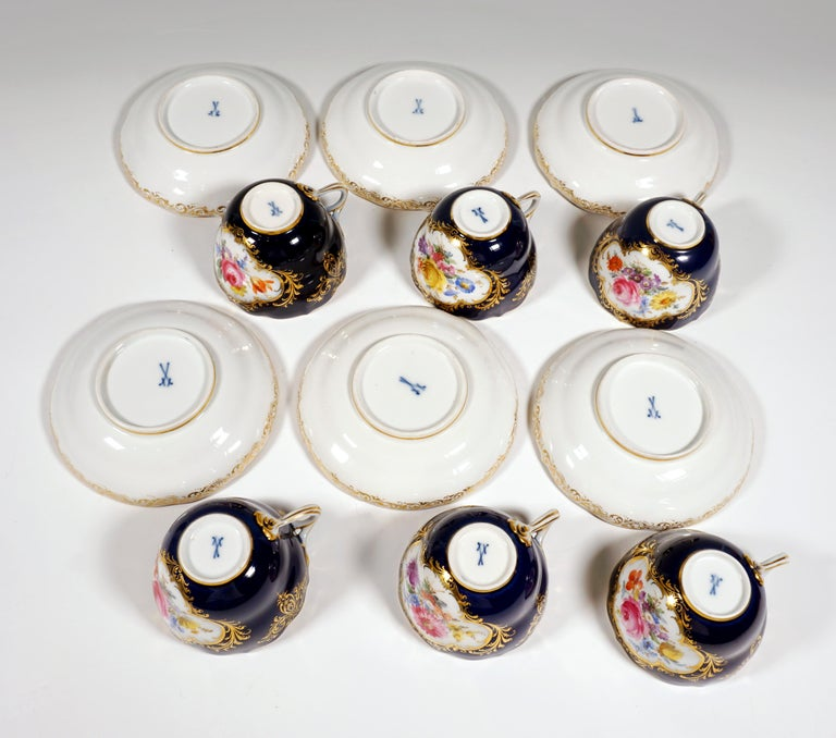 19th Century Meissen Coffee Set for 6 Persons, Cobalt, Bouquets and Gold Decor 7