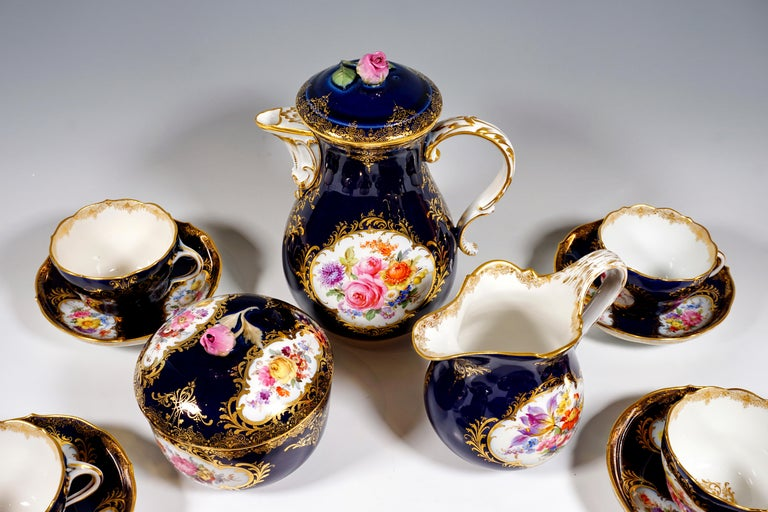 Baroque 19th Century Meissen Coffee Set for 6 Persons, Cobalt, Bouquets and Gold Decor
