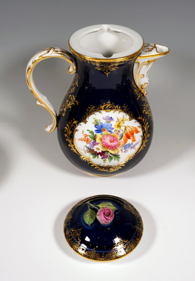 Hand-Painted 19th Century Meissen Coffee Set for 6 Persons, Cobalt, Bouquets and Gold Decor