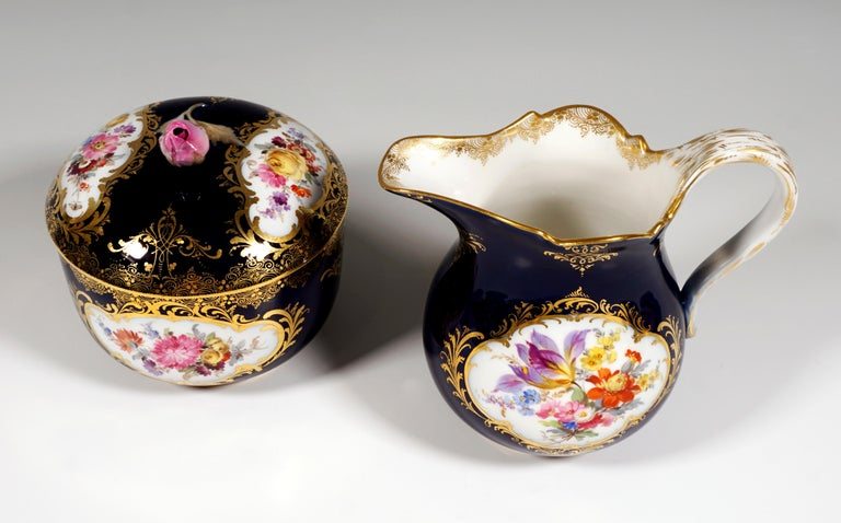 19th Century Meissen Coffee Set for 6 Persons, Cobalt, Bouquets and Gold Decor In Good Condition In Vienna, AT