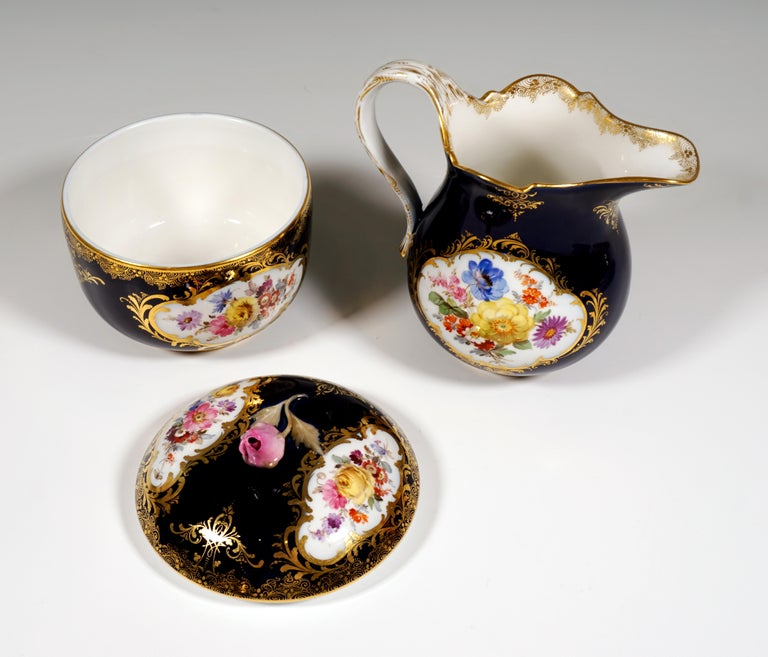 Porcelain 19th Century Meissen Coffee Set for 6 Persons, Cobalt, Bouquets and Gold Decor