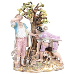 19th Century Meissen Group 'Picking Apples'
