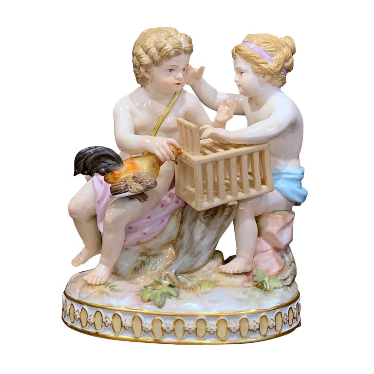 19th Century Meissen Grouping of Two Boys with Rooster and Cage For Sale