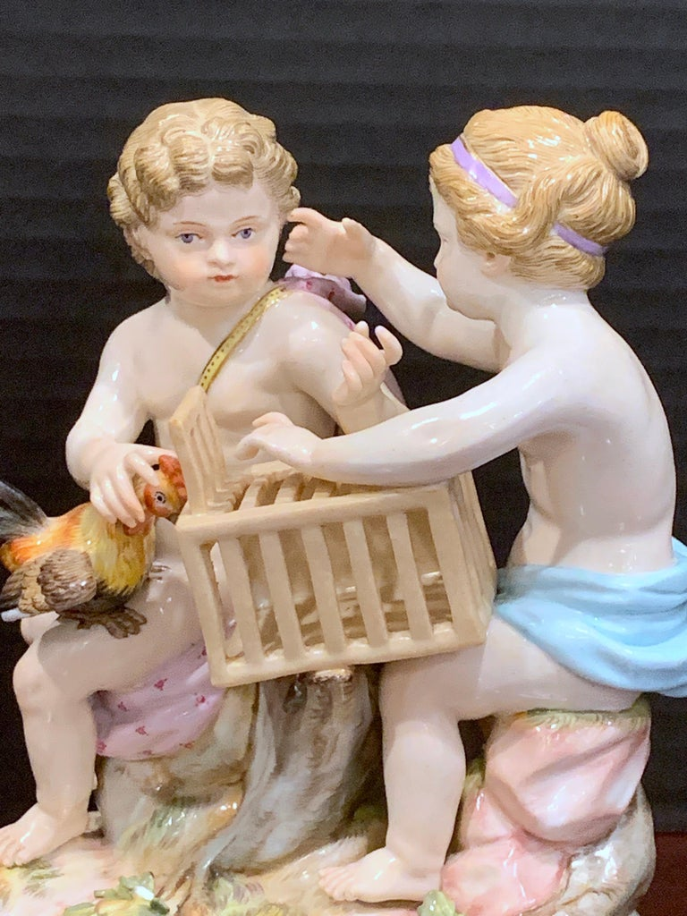 19th Century Meissen Grouping of Two Boys with Rooster and Cage For Sale 5