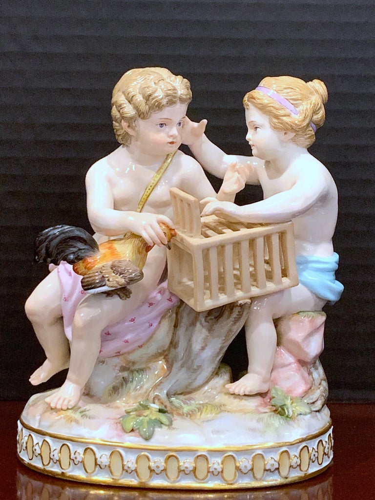 19th Century Meissen Grouping of Two Boys with Rooster and Cage For Sale 7