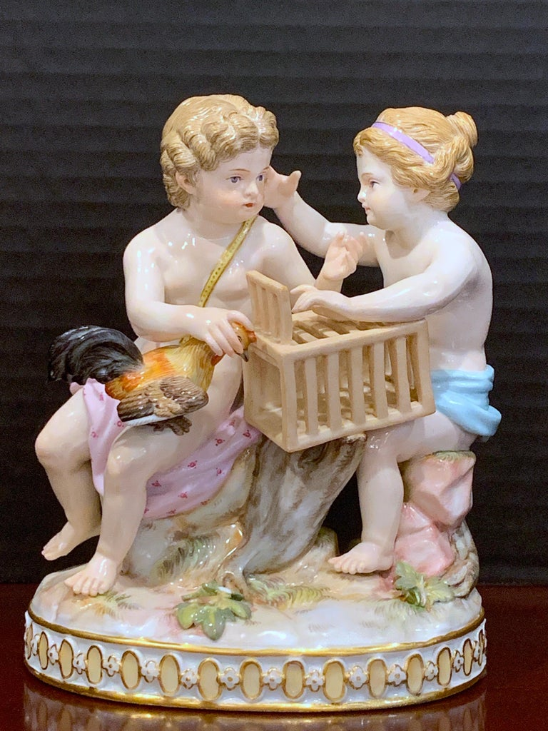 19th century Meissen grouping of two boys with rooster and cage, remarkable condition, all fingers and toes intact no major damage observed.