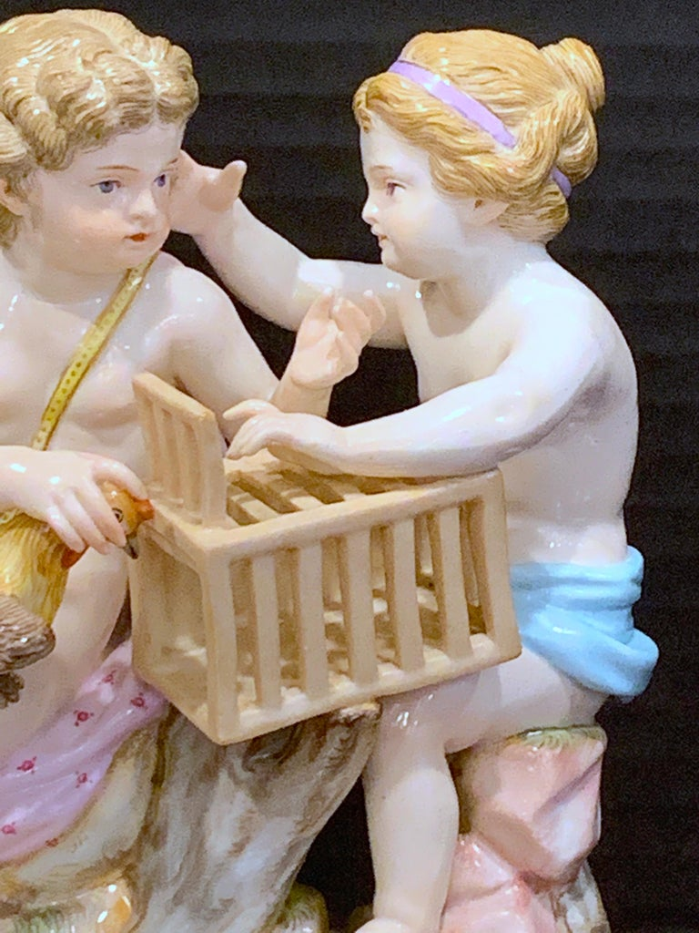 German 19th Century Meissen Grouping of Two Boys with Rooster and Cage For Sale