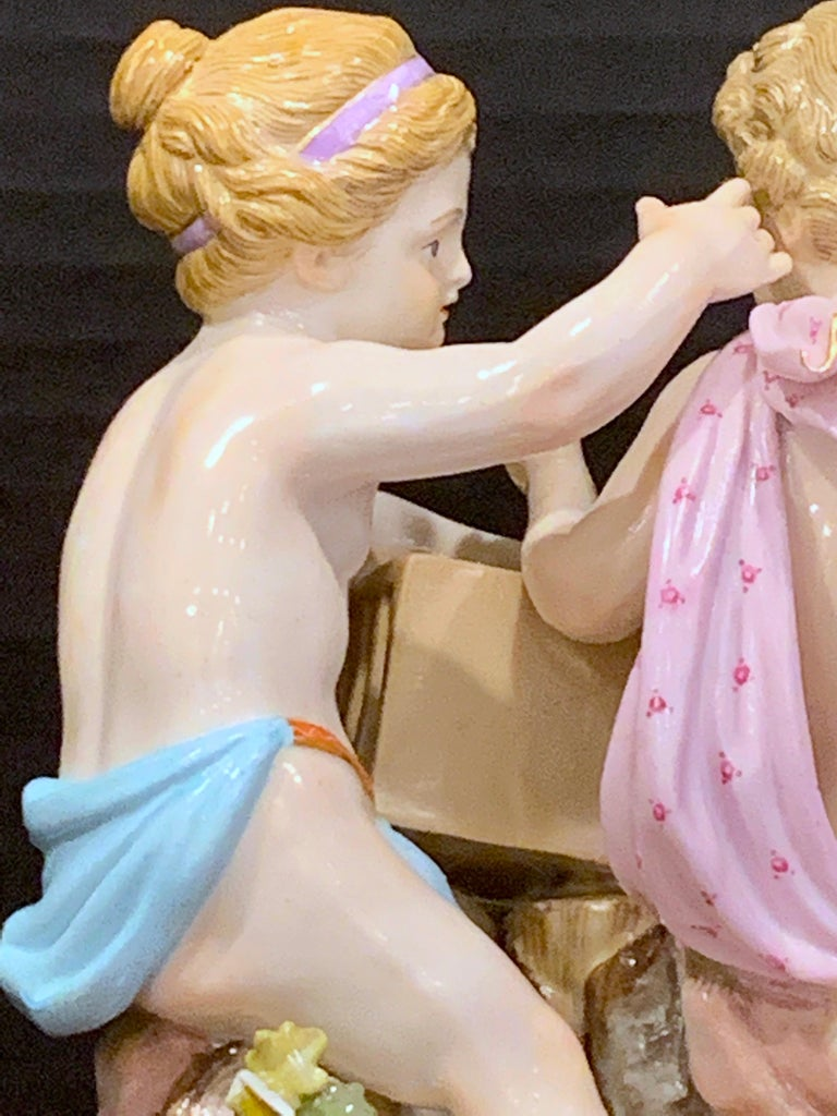 19th Century Meissen Grouping of Two Boys with Rooster and Cage For Sale 3