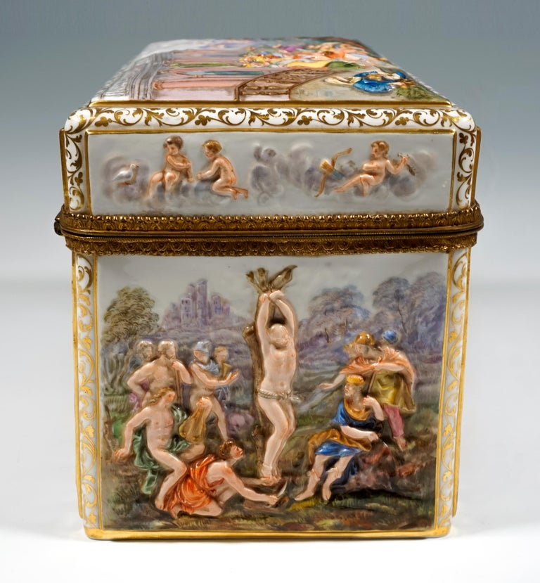19th Century Meissen Jewelry Box With Colored Greek Mythology Reliefs For Sale 3