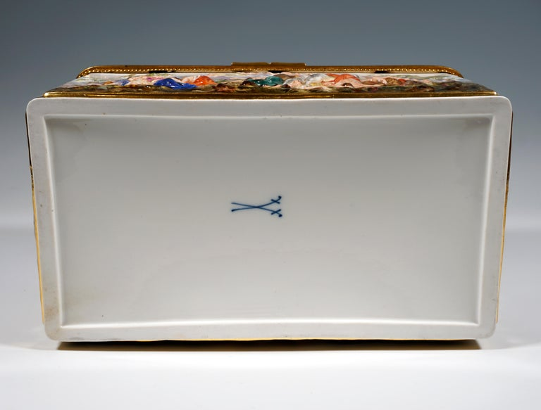 19th Century Meissen Jewelry Box With Colored Greek Mythology Reliefs For Sale 4