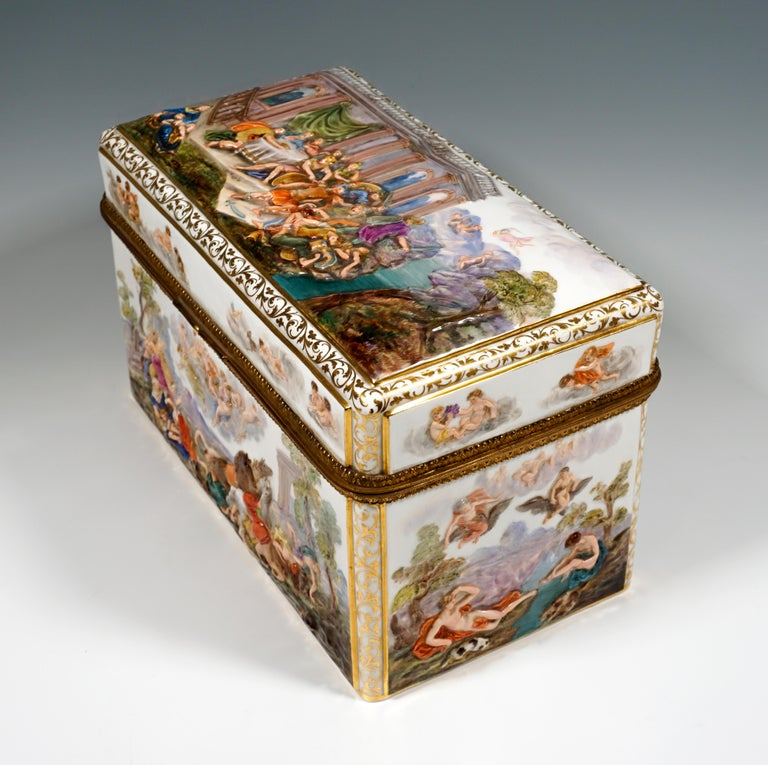 Rococo 19th Century Meissen Jewelry Box With Colored Greek Mythology Reliefs For Sale