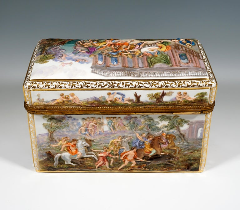 German 19th Century Meissen Jewelry Box With Colored Greek Mythology Reliefs For Sale