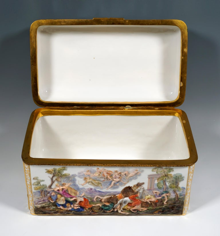 Hand-Crafted 19th Century Meissen Jewelry Box With Colored Greek Mythology Reliefs For Sale